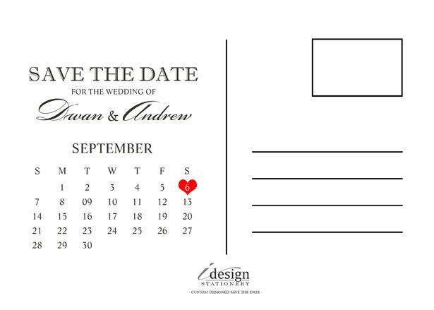 Save the Date Calendar Postcard