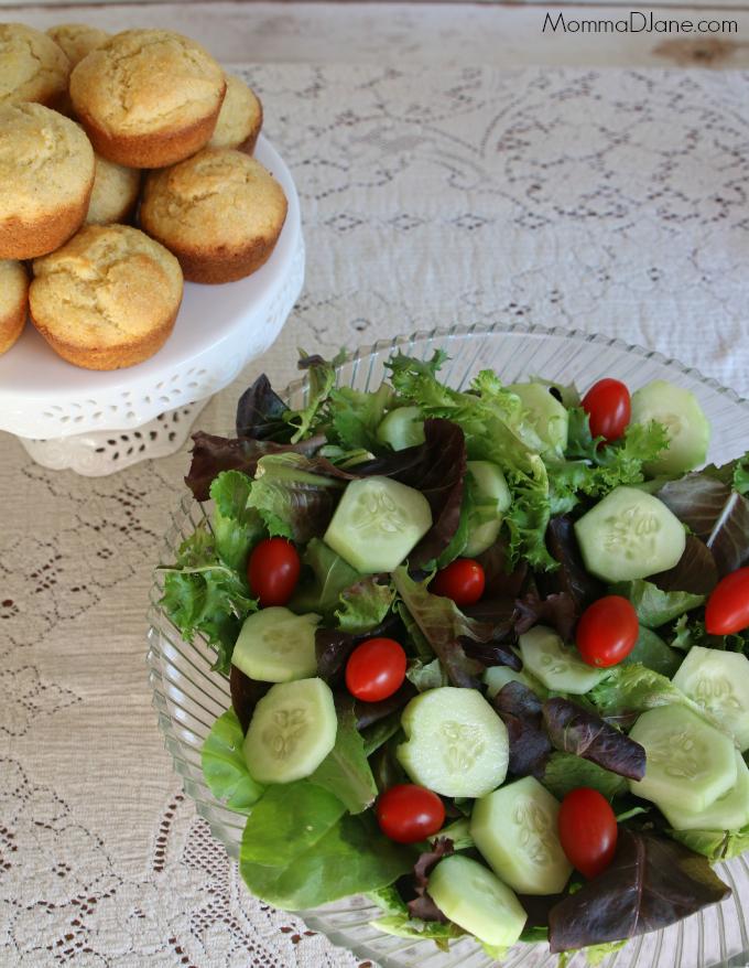 corn bread and salad