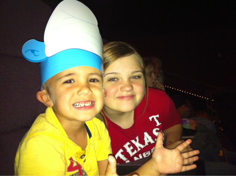 Noah wearing Smurf's Hat, Smurf's Movie 3D