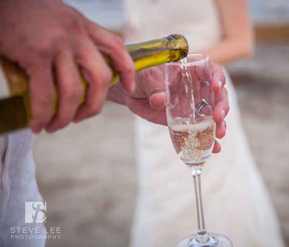 pouring wine for wedding toast