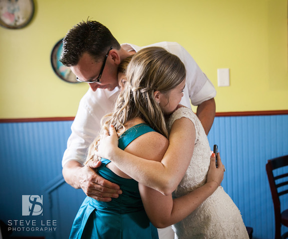 Blended Family Love at Wedding Reception