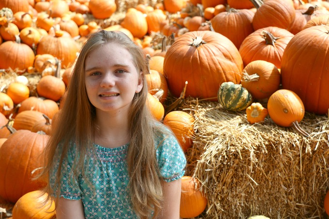Daughter at pumpkin patch