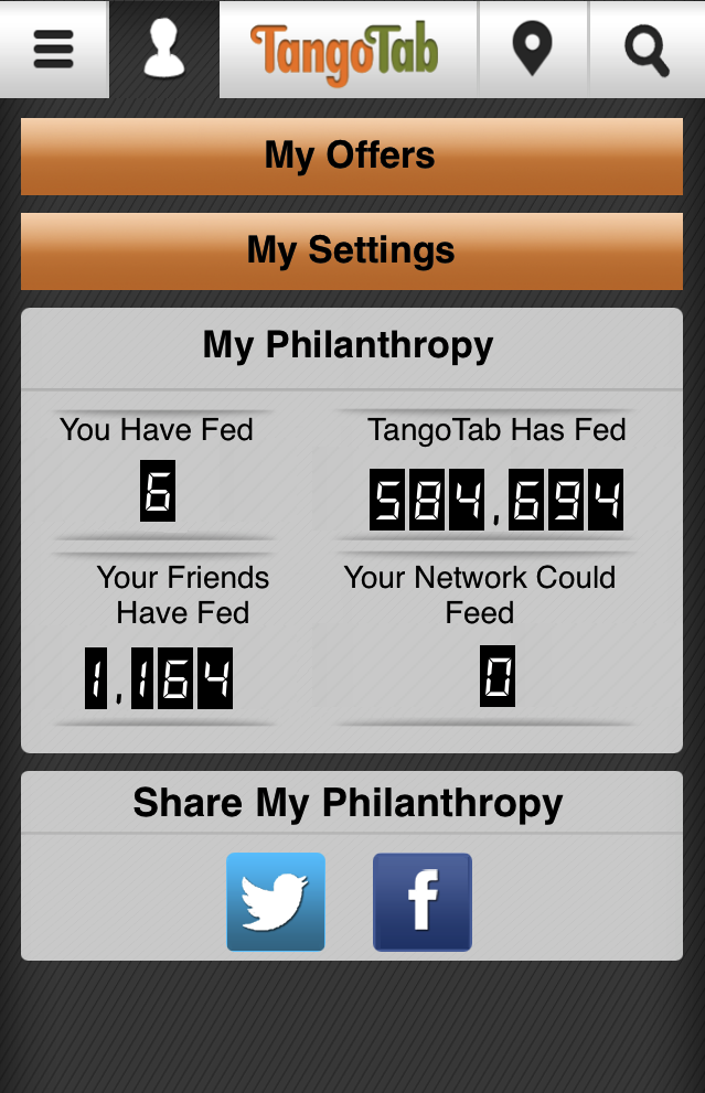 Philanthropy using TangoTab iPhone App