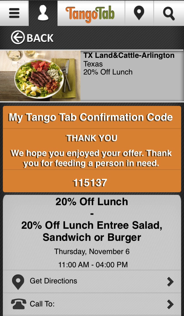 TangoTab Special Offer for Texas Land & Cattle