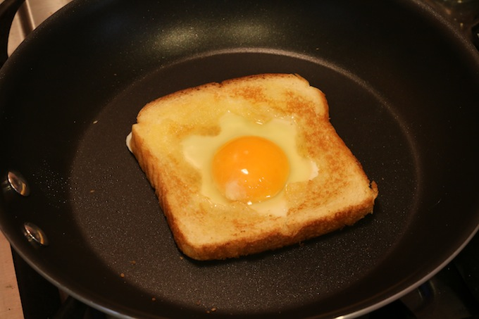 Toast with Egg in shape of snowflake