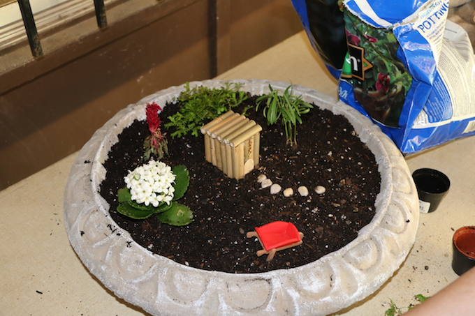 adding furniture to fairy garden