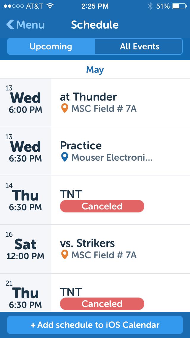 Schedule on TeamSnap