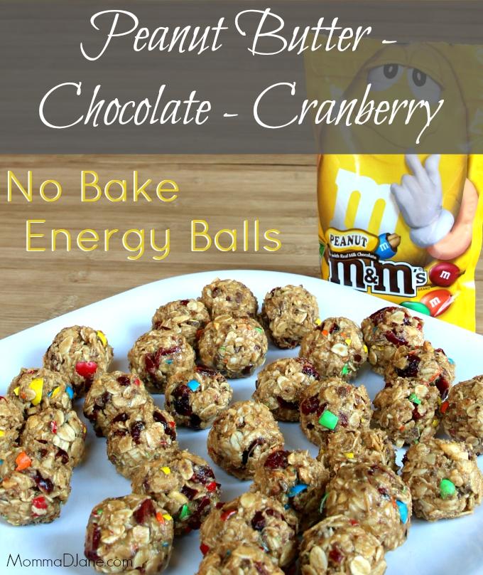 Peanut Butter Chocolate Cranberry Energy Balls