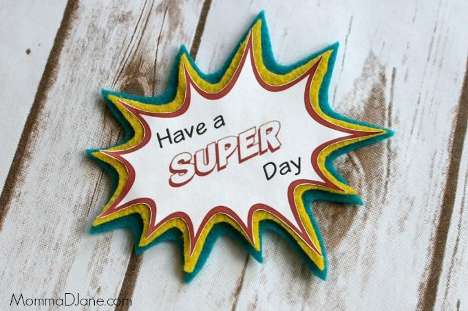 Super Hero Lunch Box Note