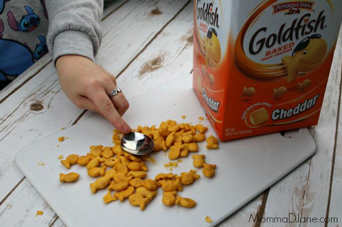 crush goldfish crackers
