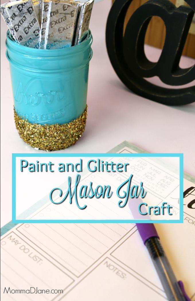 Paint and Glitter Mason Jar Craft