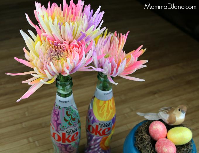 Spring Flowers in Diet Coke Bottles