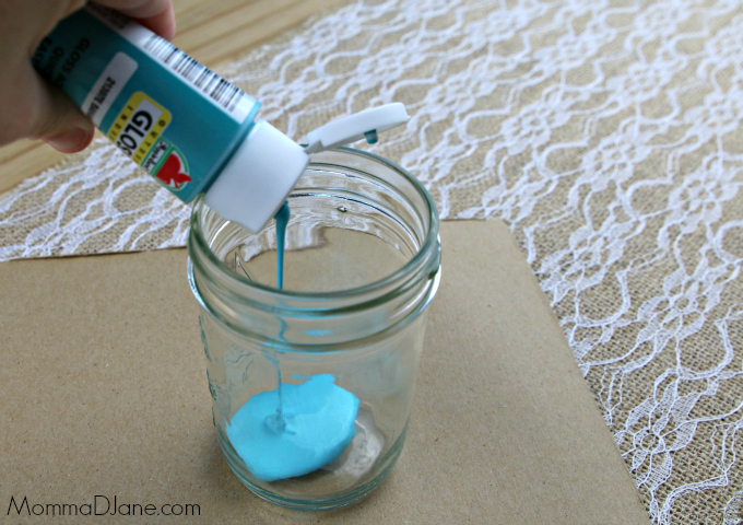 add paint to mason jar
