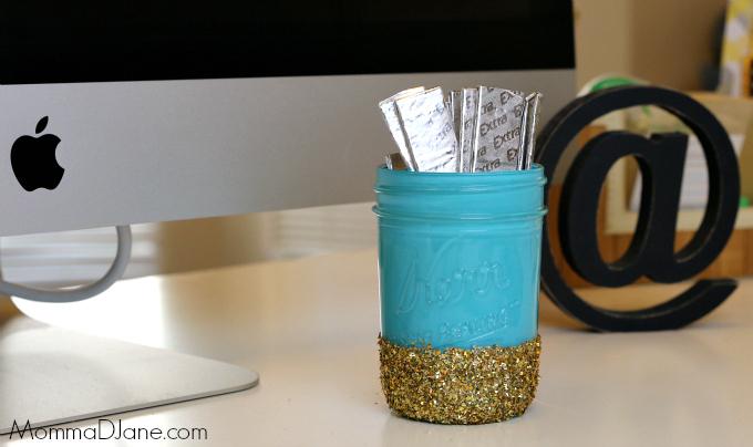 diy mason jar craft for desk