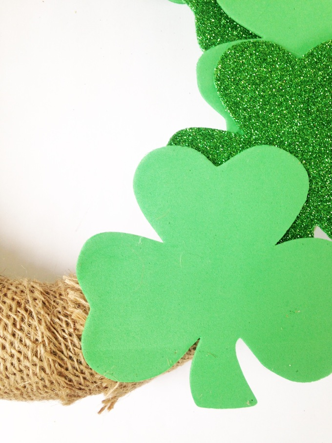 add shamrocks to St Patrick's Day wreath