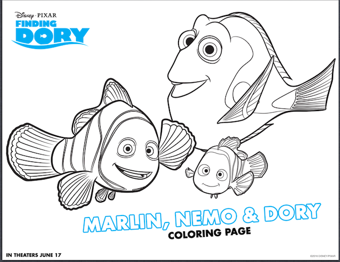 Disney Finding Dory Coloring Sheets