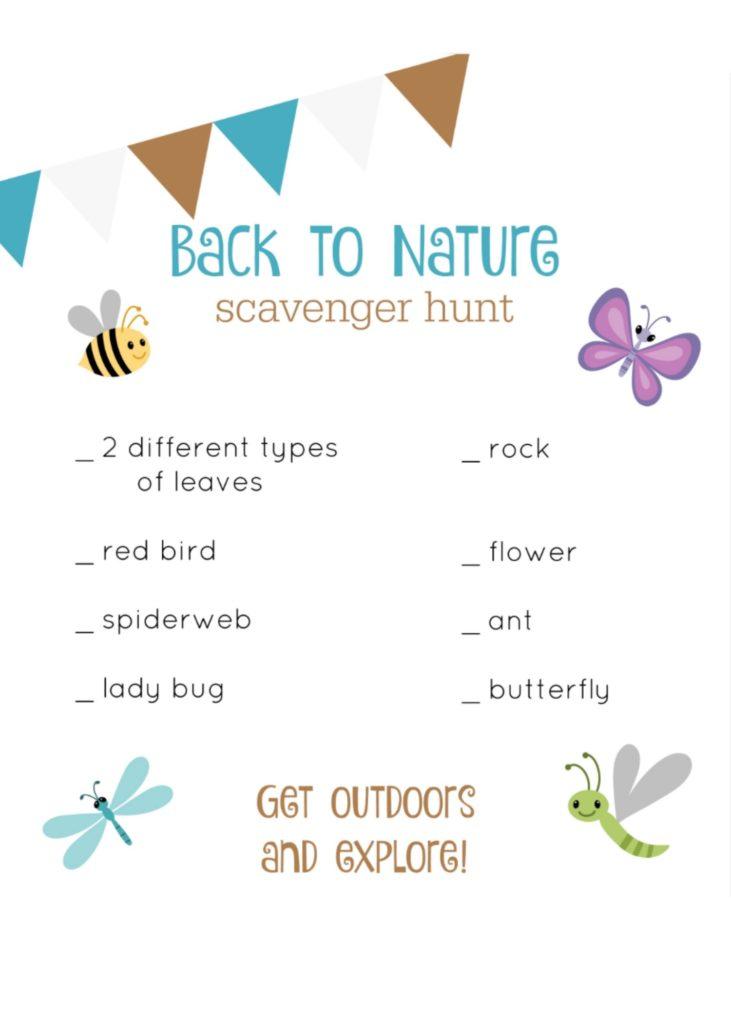 Back to Nature Scavenger Hunt