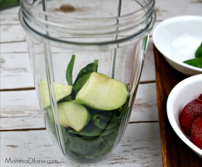 add apples and spinach