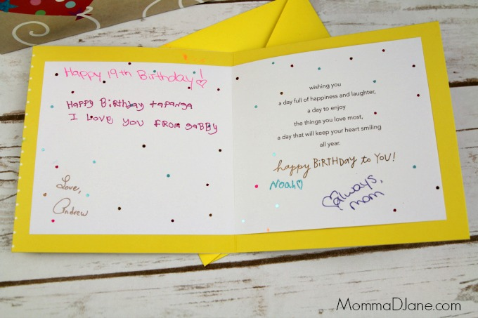 signed birthday card