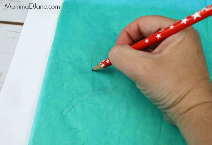 trace design on tissue paper