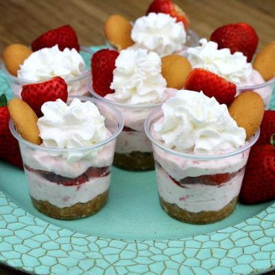 No Bake Strawberry Cheesecake Shooters