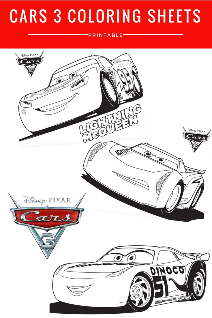Disney Pixar Cars 3 Coloring Sheets - Free Printable ...
