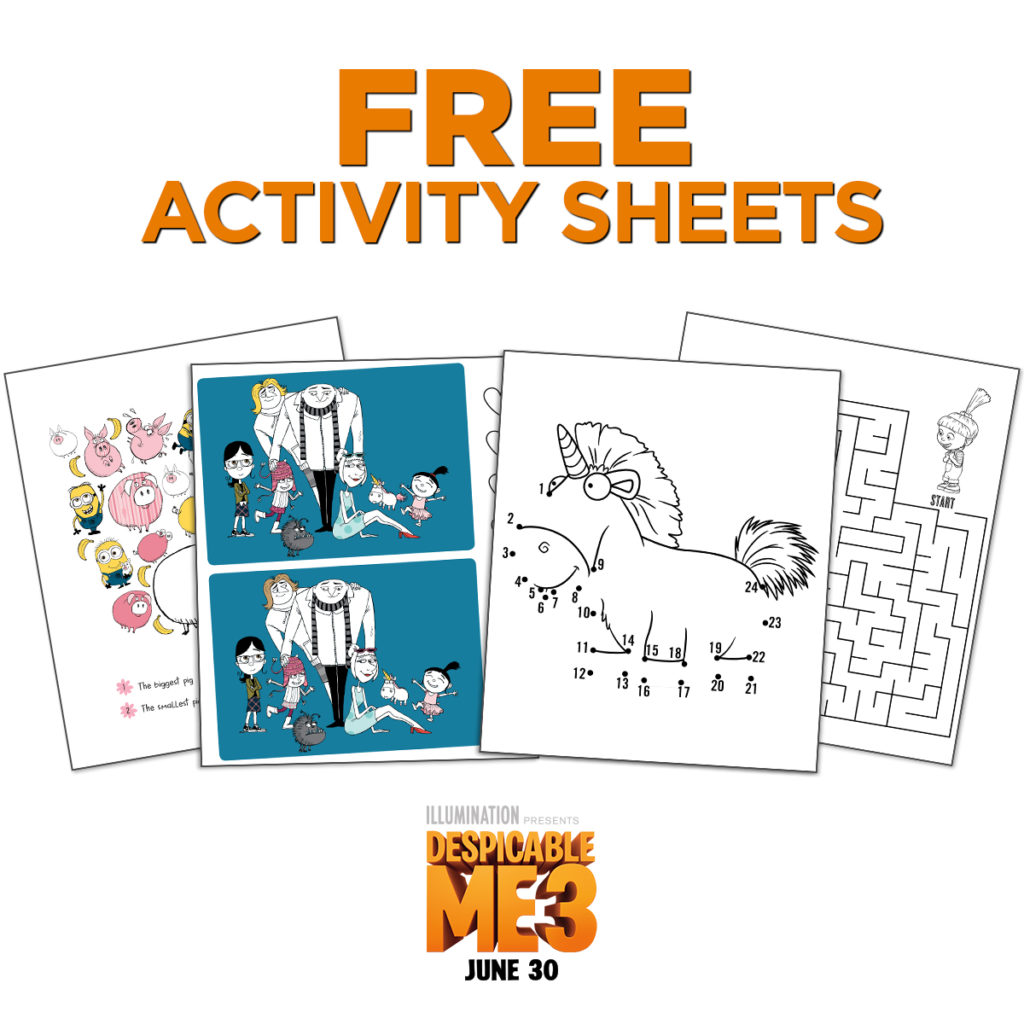 Despicable Me 3 Printable Activity Sheets - Life. Family. Joy