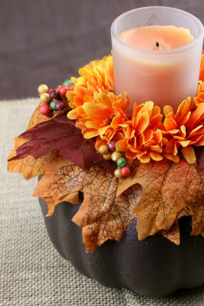 Dollar Store DIY: Fall Pumpkin Candle Holder