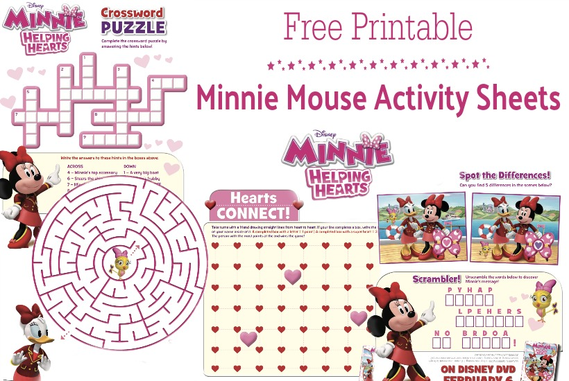 printable Minnie Mouse activity sheets