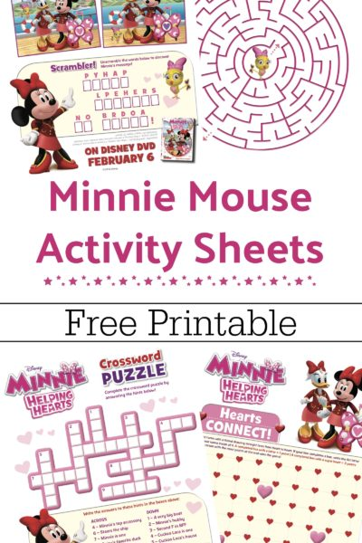 Free Printable Minnie Mouse Activity Sheets + Minnie: Helping Hearts DVD
