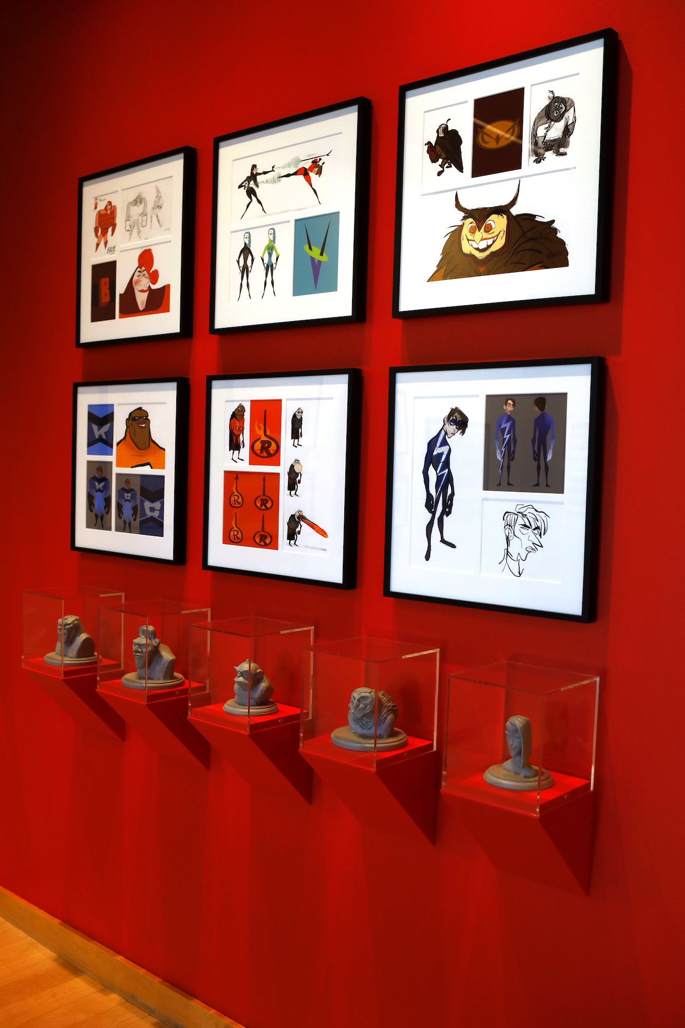 The Incredibles 2 Art Gallery and Sculptures at Pixar Studios