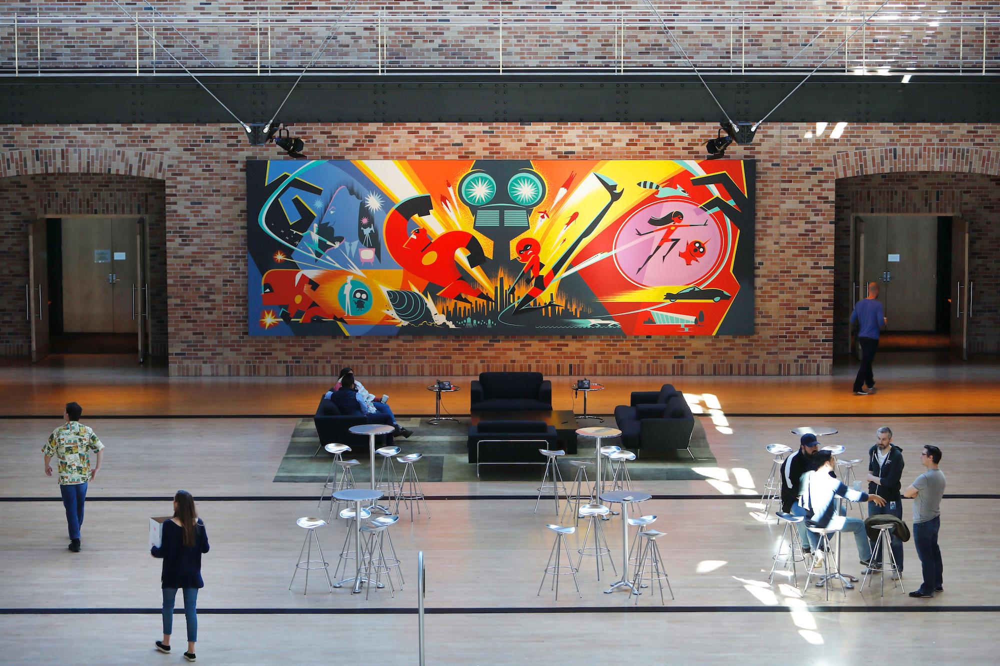Incredibles 2 Concept Wall Art at Pixar Studios