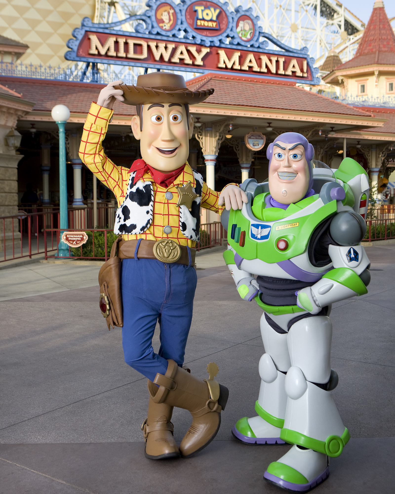 Buzz Lightyear and Woody at Toy Story Mania