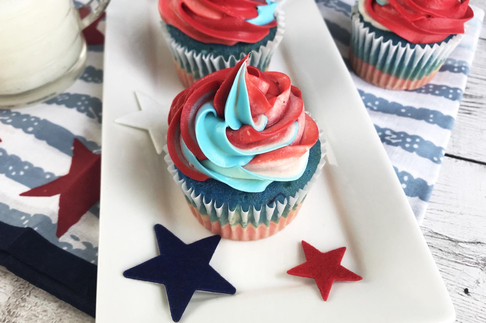 Superhero Cupcake with Multicolor Icing