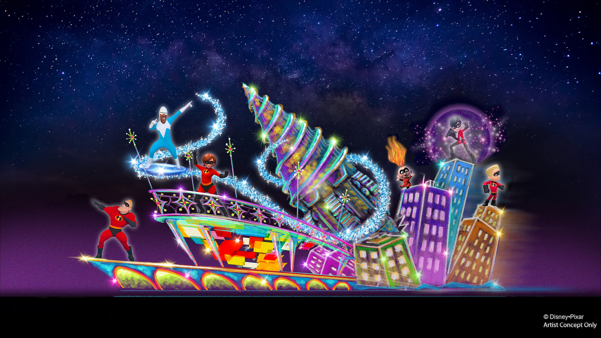 Paint the Night Parade Incredibles 2 float