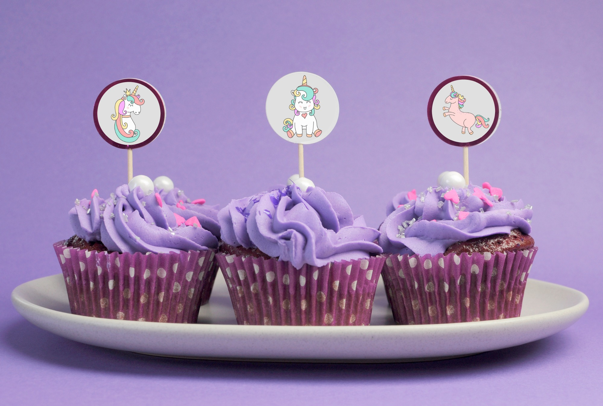Unicorn Cupcake Toppers Party Decor