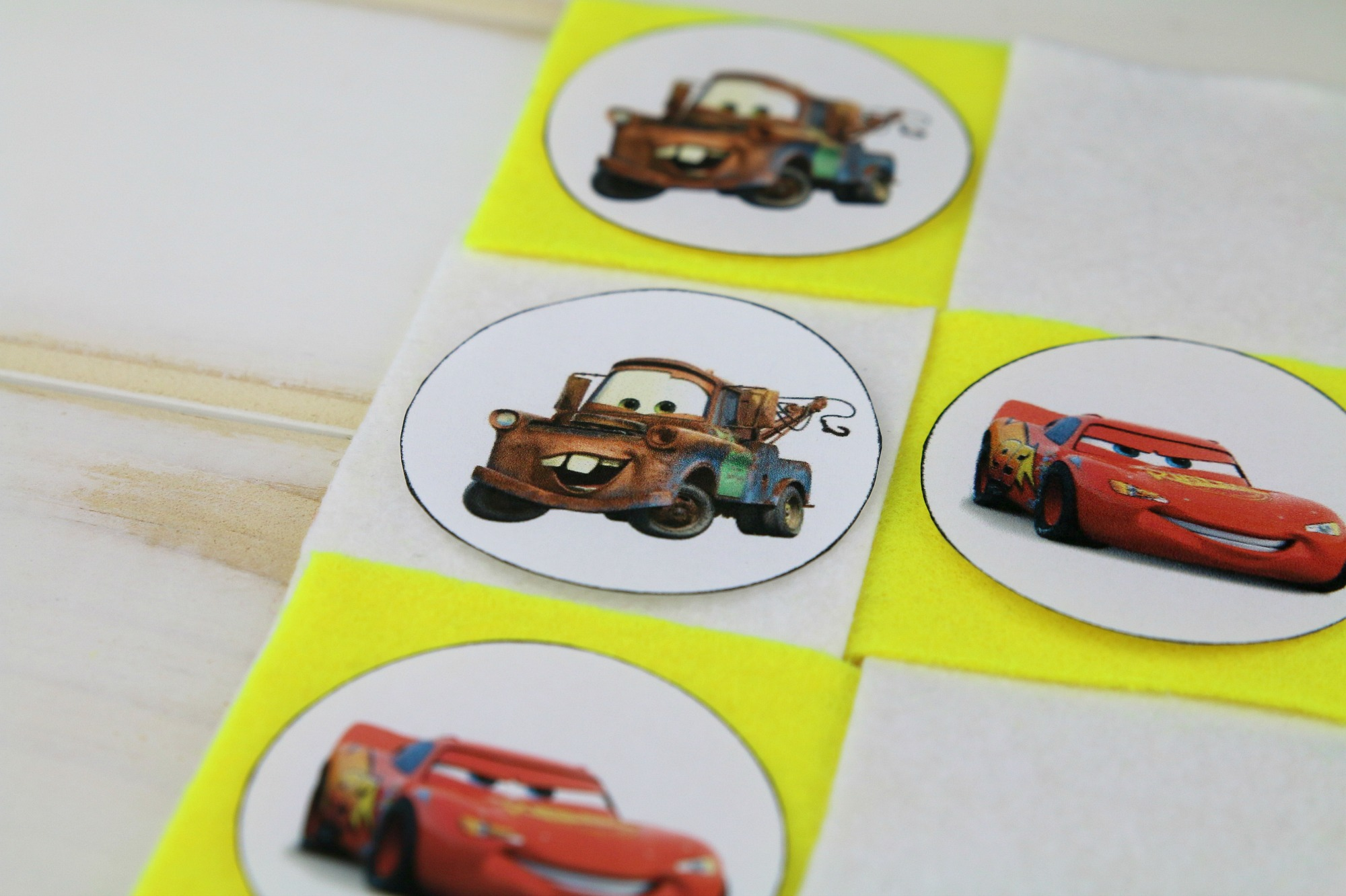 Disney Cars tic tac toe pieces