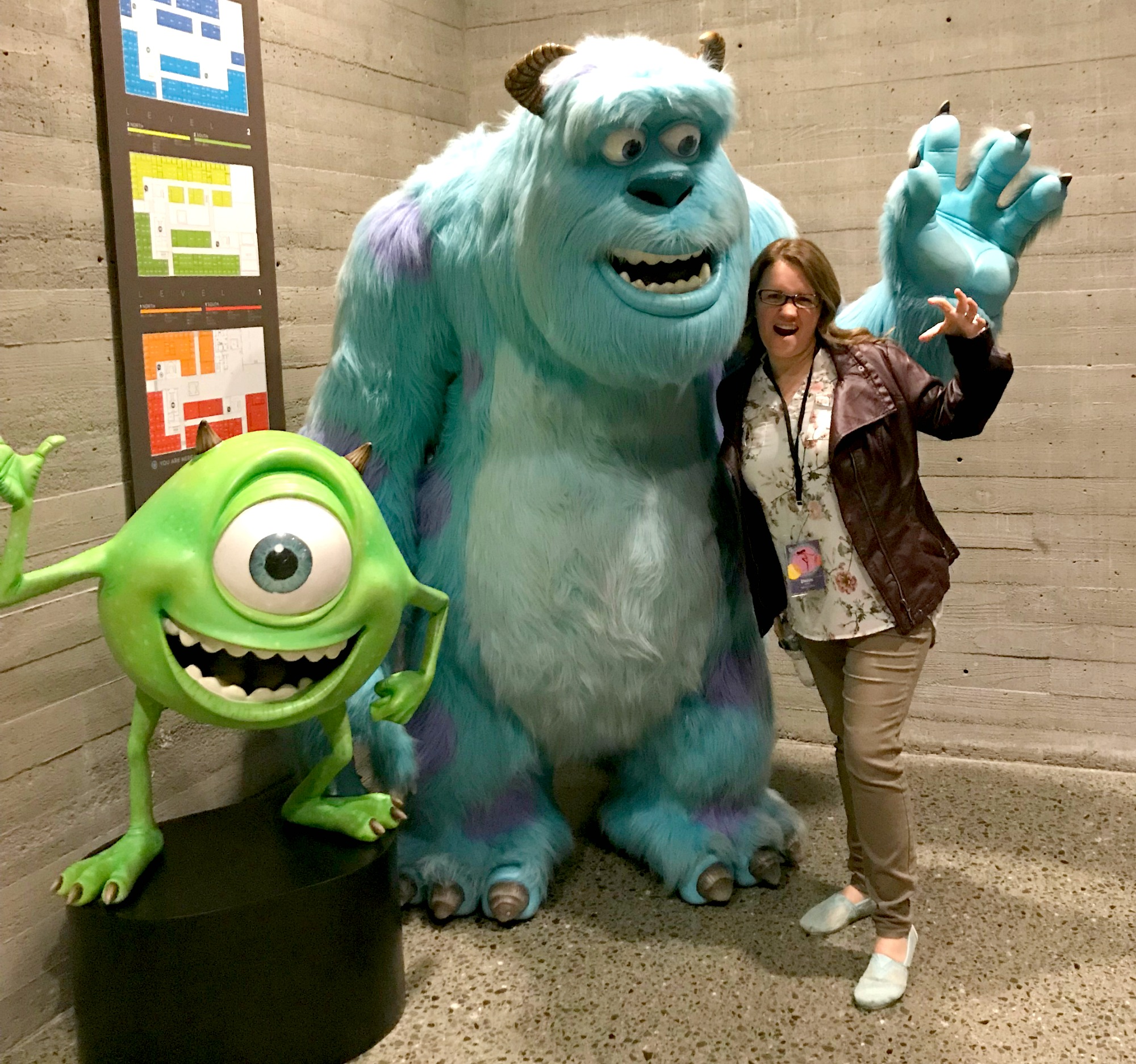 Dwan with Sully at Pixar Studios