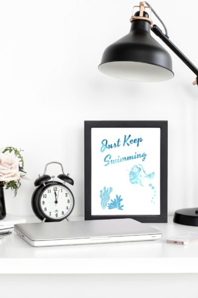Finding Nemo Printable Dory Just Keep Swimming Quote Art – #PixarFest