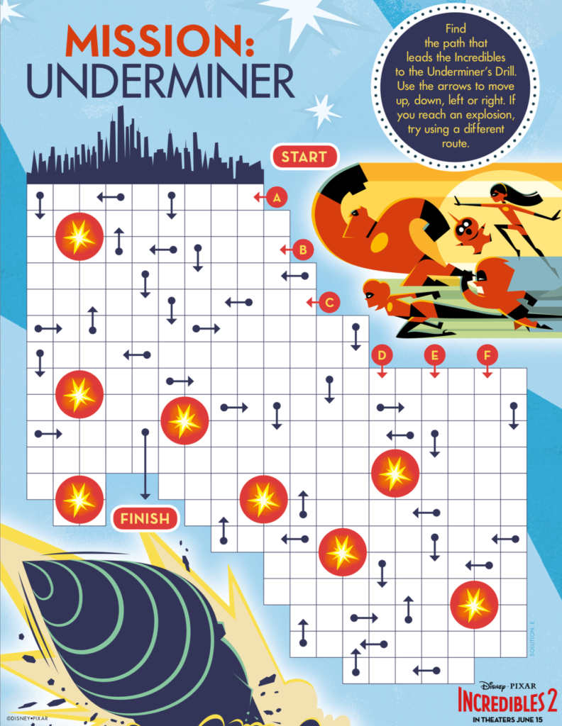 Incredibles 2 Maze Activity Sheet