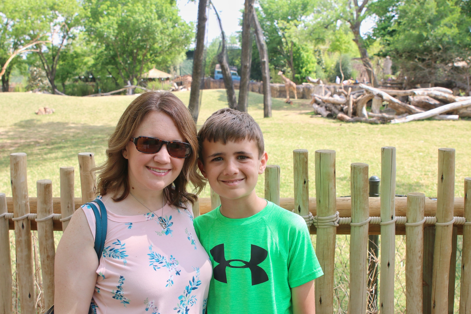 mother and son at the zoo