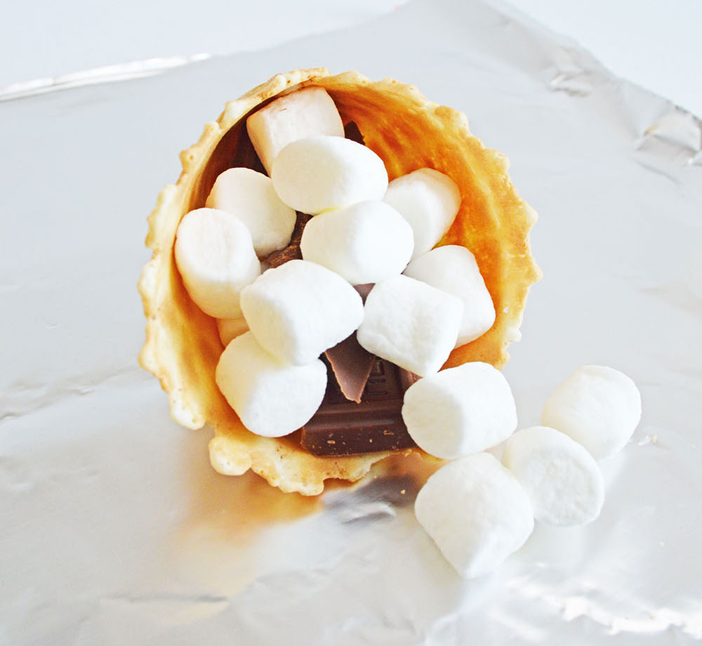 add marshmallows to campfire cone