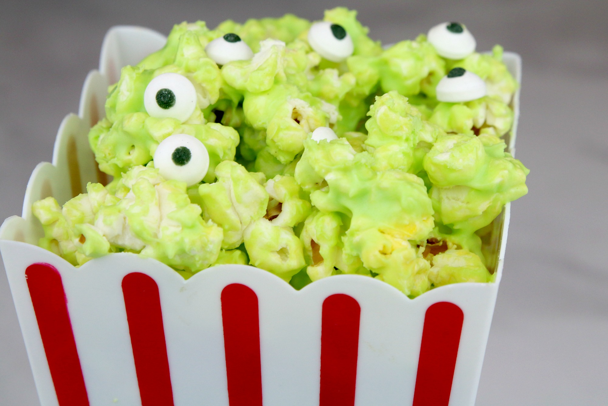 green chocolate on popcorn