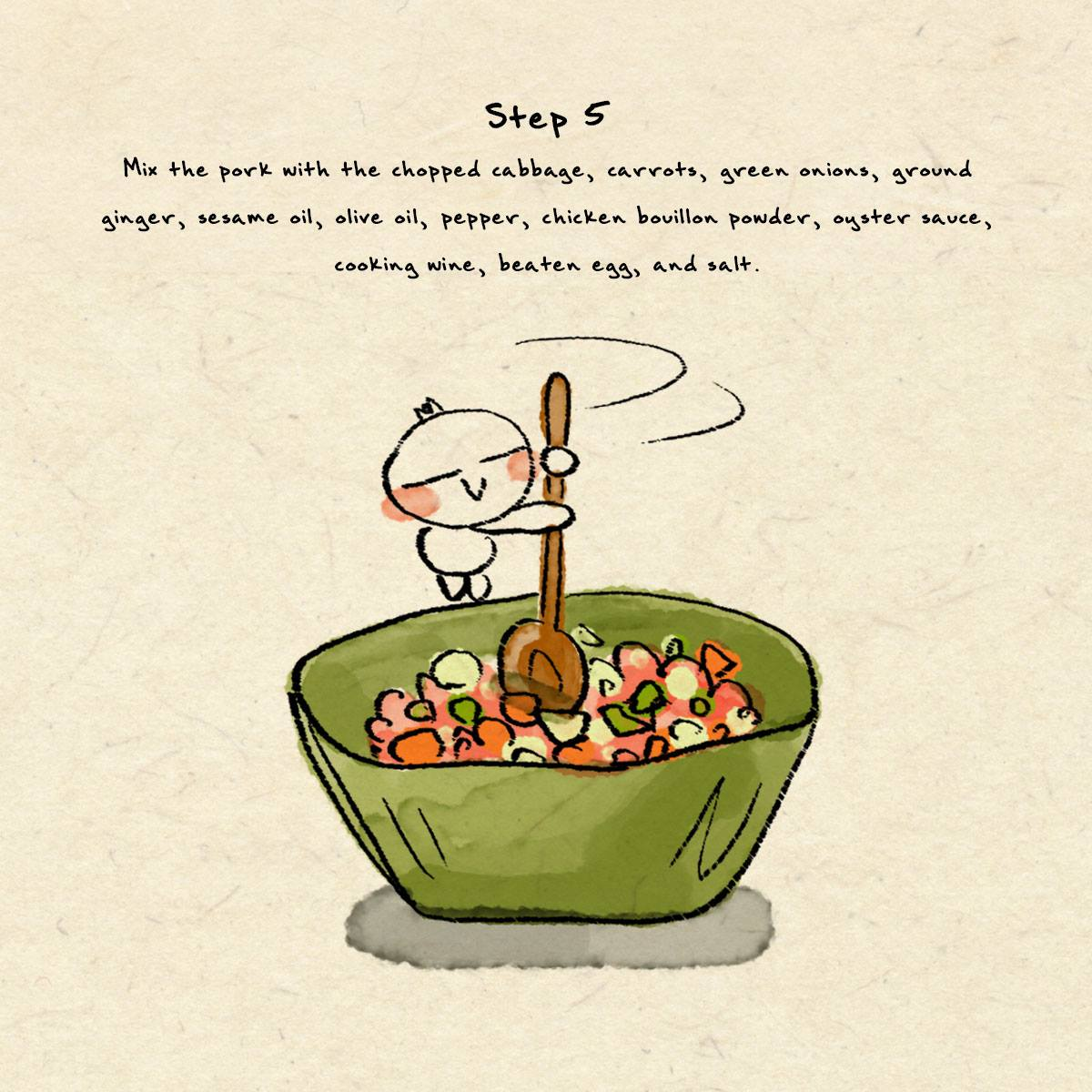 Step 5 in dumpling recipe
