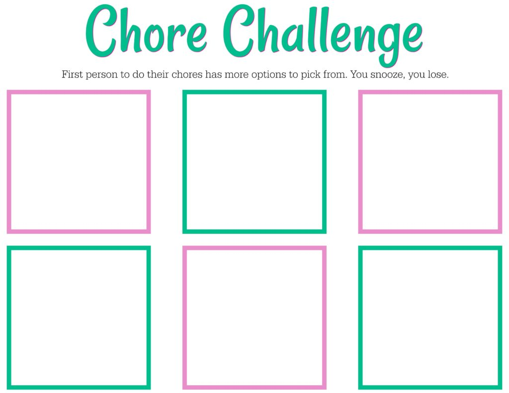 Printable Chore Challenge Chart