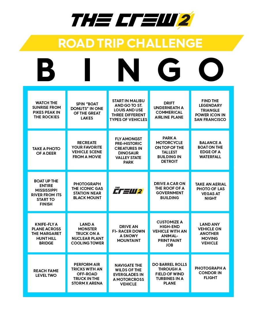 The Crew 2 printable Bingo game Xbox One