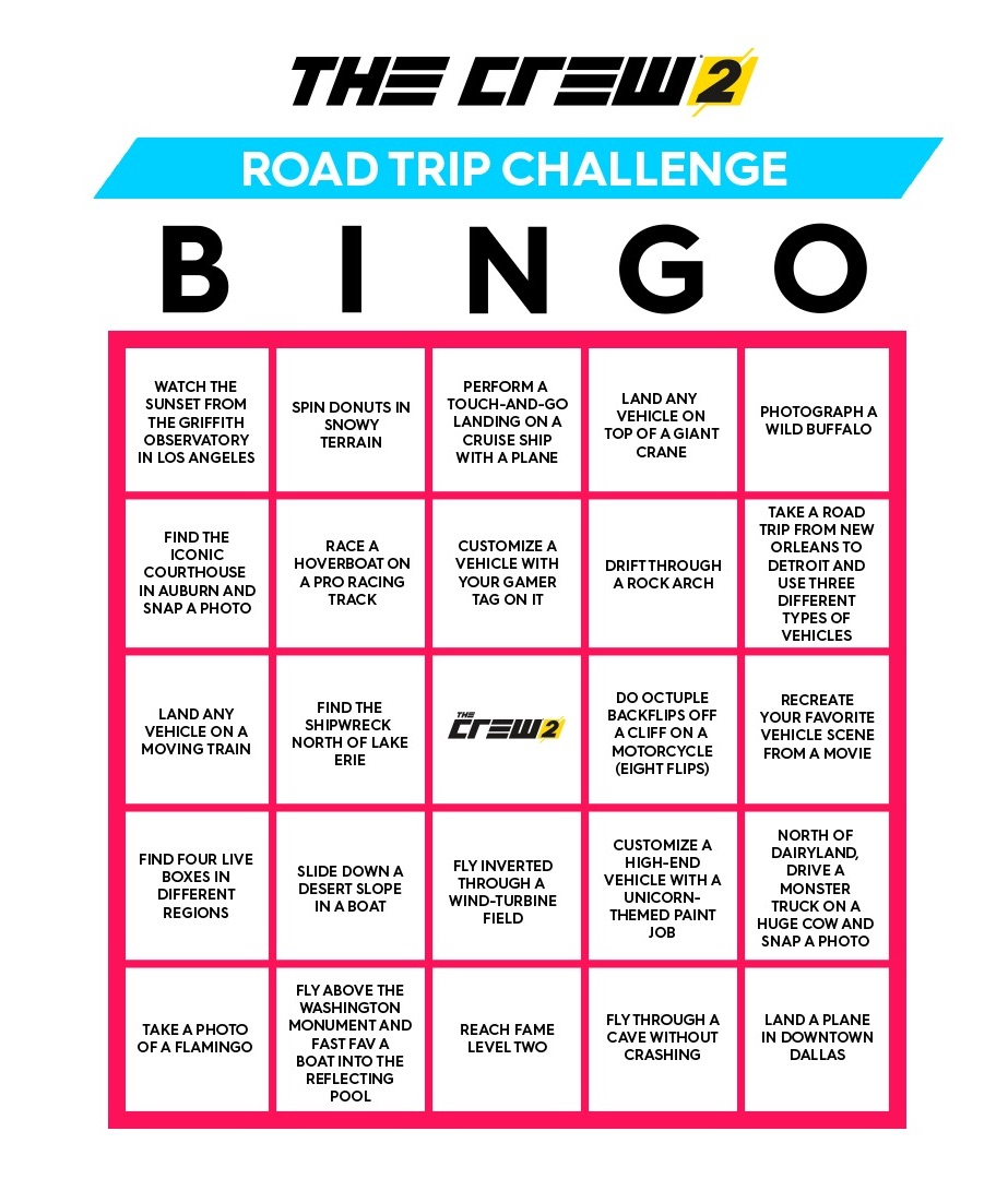 Printable The Crew 2 Bingo Cards