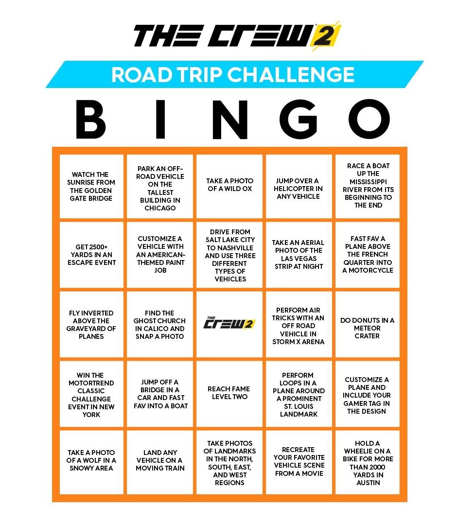 The Crew 2 Bingo Challenge