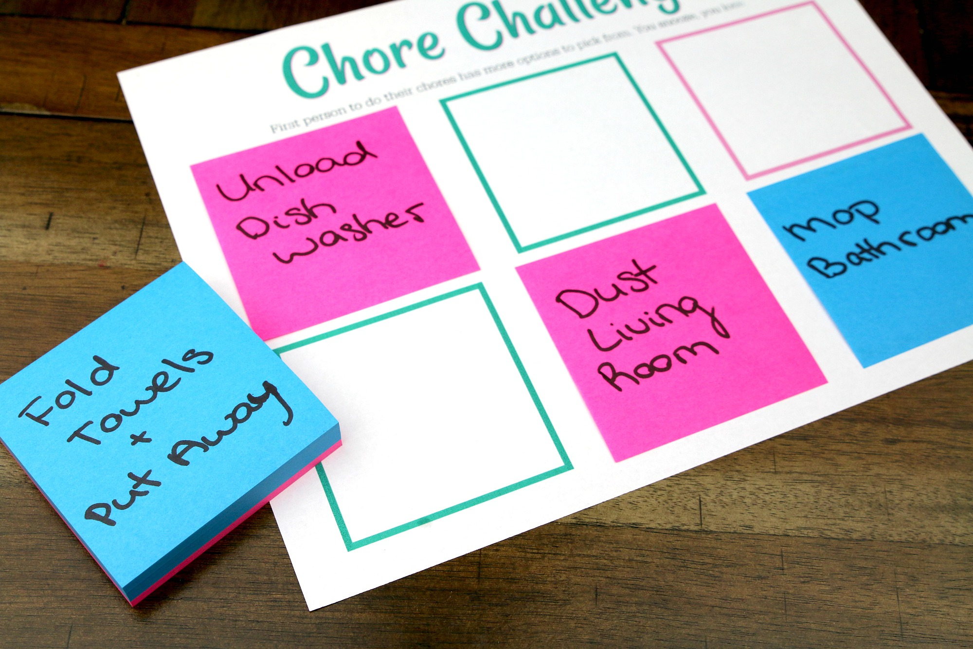 add Post-it Notes to chore chart