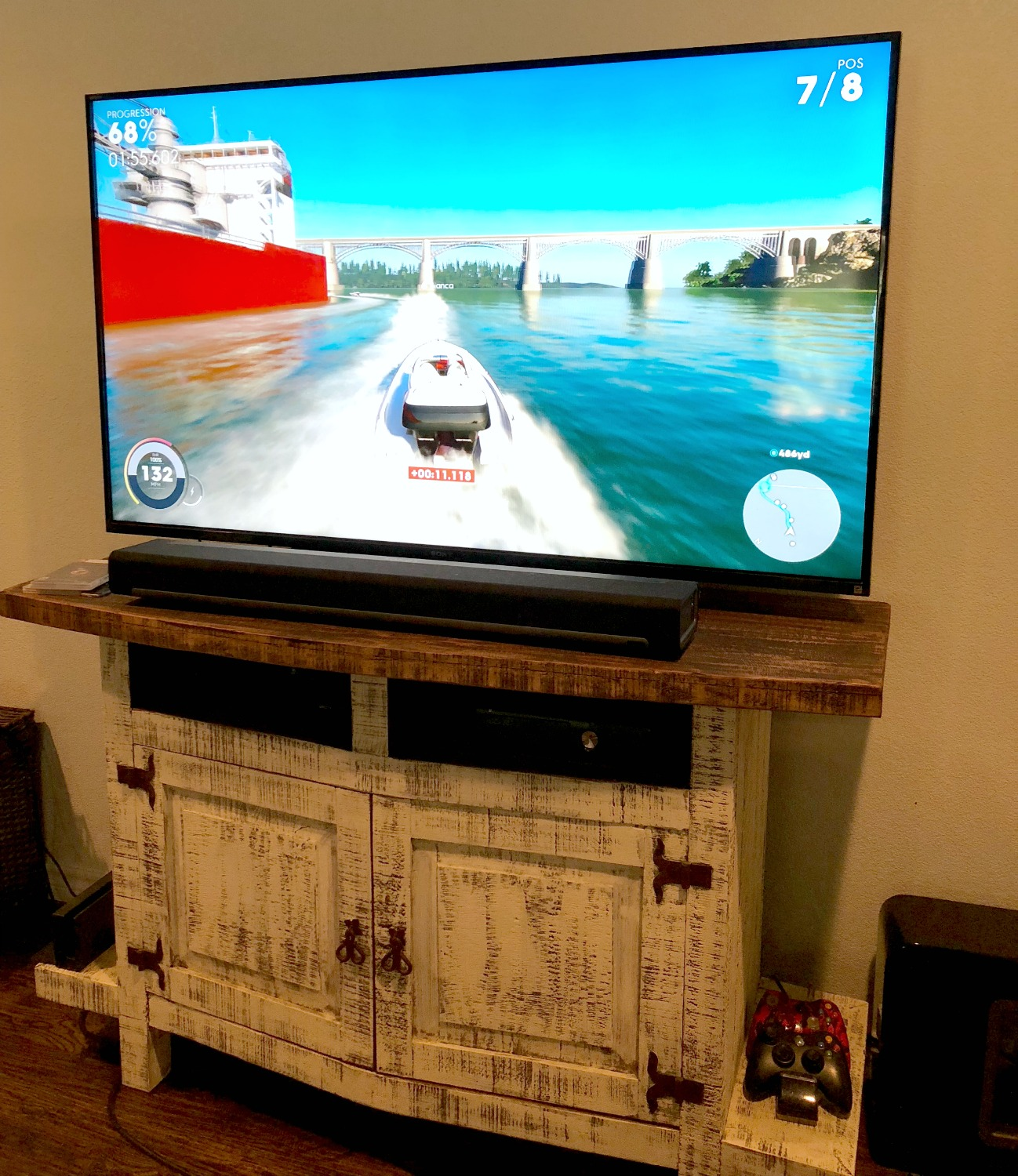 playing The Crew 2 in living room